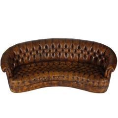 Vintage Chesterfield Sofa with Original Brown Leather