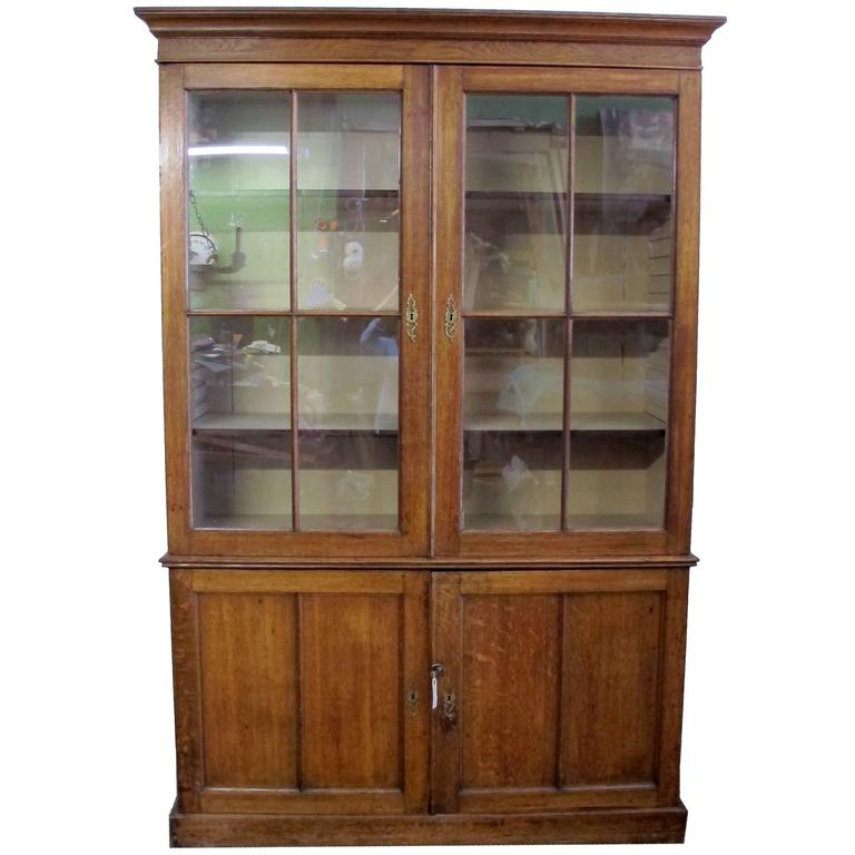 English Oak Bookcase Cabinet, 19th Century