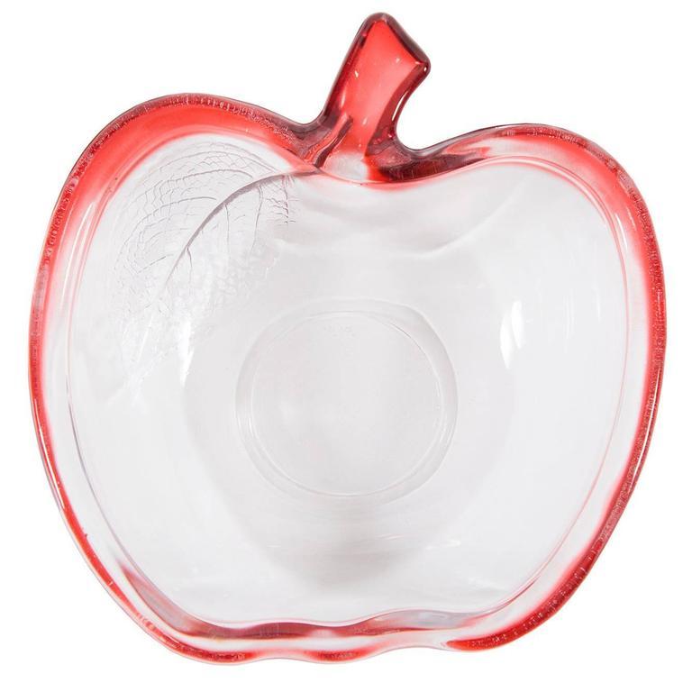 Art Glass Apple Dish Bowl