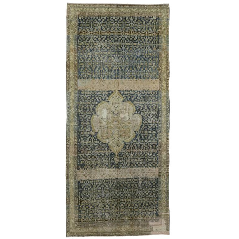 Distressed Antique Persian Malayer Gallery Rug With Modern Industrial Style