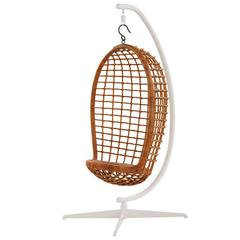 Mid-Century Rattan Hanging Chair and Stand