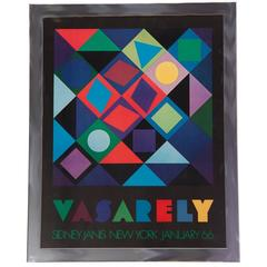 1960s Vasarely Poster in Chrome Frame