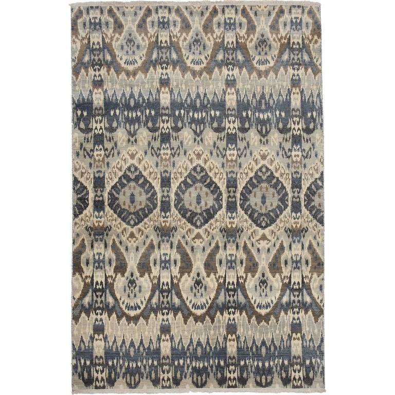 Ivory Wool And Silk Persian Naein Area Rug For Sale At 1stdibs: Gray Ikat Area Rug, Solo Rugs For Sale At 1stdibs