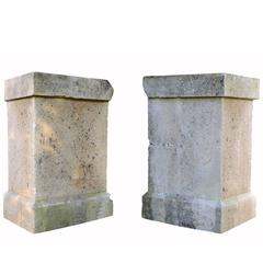 Pair of Stone Pedestals, Dated 19th Century