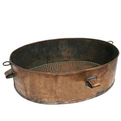 Early 20th Century French Copper Tub, Large Oval Strainer or Centerpiece