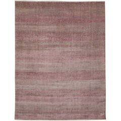 New Post-Modern Transitional Pink-Gray Area Rug with Contemporary Feminine Style