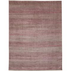New Modern Transitional Pink-Gray Area Rug with Grasscloth Pattern