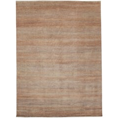New Modern Transitional Orange-Grey Area Rug with Grasscloth Pattern