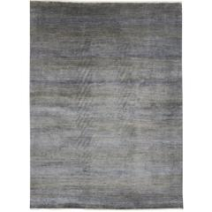 New Modern Transitional Grasscloth Area Rug, Wool and Silk Grey-Blue Area Rug