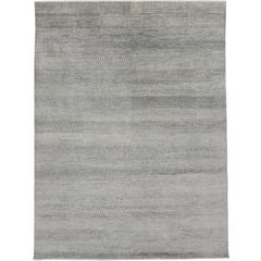 Transitional Grass Cloth Patterned Gray Area Rug with Modern Style