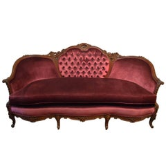 Antique French Louis XV Walnut Sofa