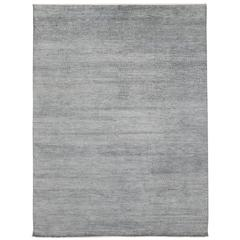 Transitional Grass Cloth Patterned Slate Blue Area Rug with Modern Style