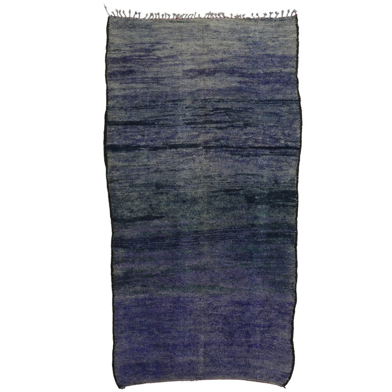 Vintage Berber Purple Moroccan Rug Inspired by Mark Rothko Chapel For Sale