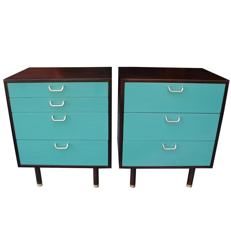 Pair of Mahogoany and Teal Color Modern Nightstands by Harvey Probber
