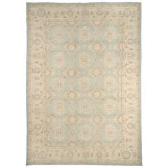 Contemporary Handwoven Blue Pastel Floral Afghan Area Rug