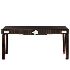 Lalique Natural Ebony Console or Entryway Table with Crystal Longchamp Accent