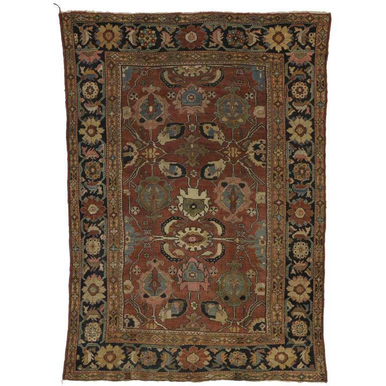 Antique Persian Sultanabad Rug With Traditional Modern