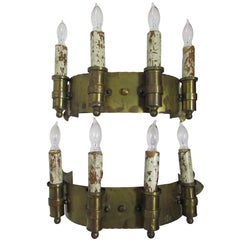 Pair of Brass Four Candle Sconces