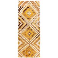 Vintage Tulu Runner with Checkered Diamond Design