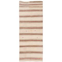Banded Vintage Wool Kilim, Flat-Weave Rug