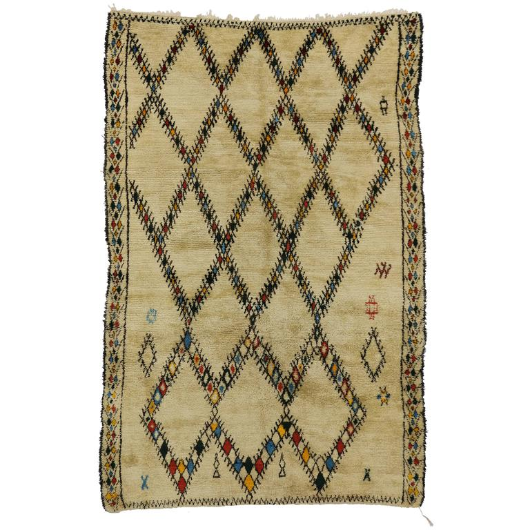 Mid-Century Modern Vintage Beni Ourain Moroccan Rug with Tribal Style