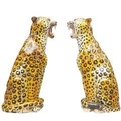 Pair Mid-Century Modern Sitting Leopard Sculptures