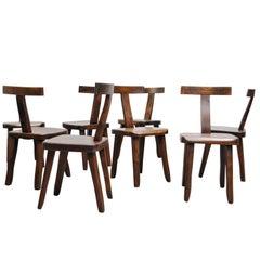 Set of Eight Black Walnut Finnish Chairs by Olavi Hänninen