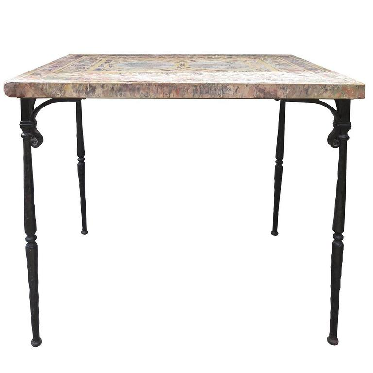 Early 20th Century Italian Pietra Dura Top Table with Old Iron Base