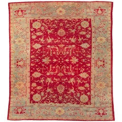 Early 20th Century Handmade Turkish Oushak Room Size Carpet in Red and Grey