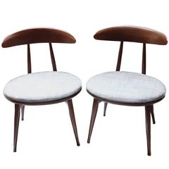 Pair of Mid-Century Upholstered Wood Chairs by Heywood Wakefield