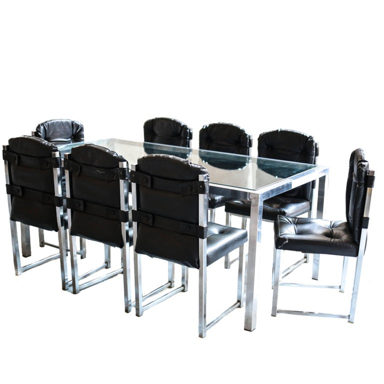 Vintage Chrome Glass Dining Table and Chairs by Virtue Brothers For Sale