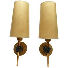 Pair of 1940s French Hand Sconces