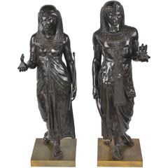 Pair of 19th Century Egyptian Statues by E. Picault