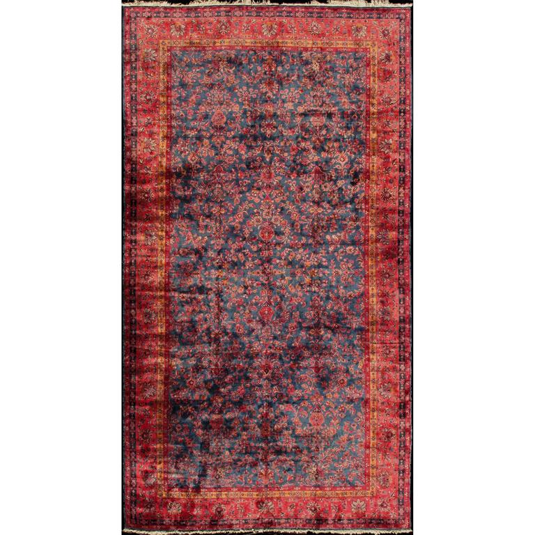 Antique Fine Manchester Kashan Rug From Iran With Silk