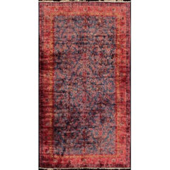 Antique Fine Manchester Kashan Rug from Iran with Silk Wool in Blue and Red