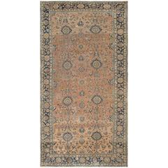 Large Antique Lilihan Rug with All-Over Floral Design in Navy, Rose & Olive