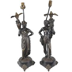 Pair of 19th Century Bronze Nubian Lamps
