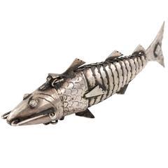 Sterling Silver Fish Spice Box