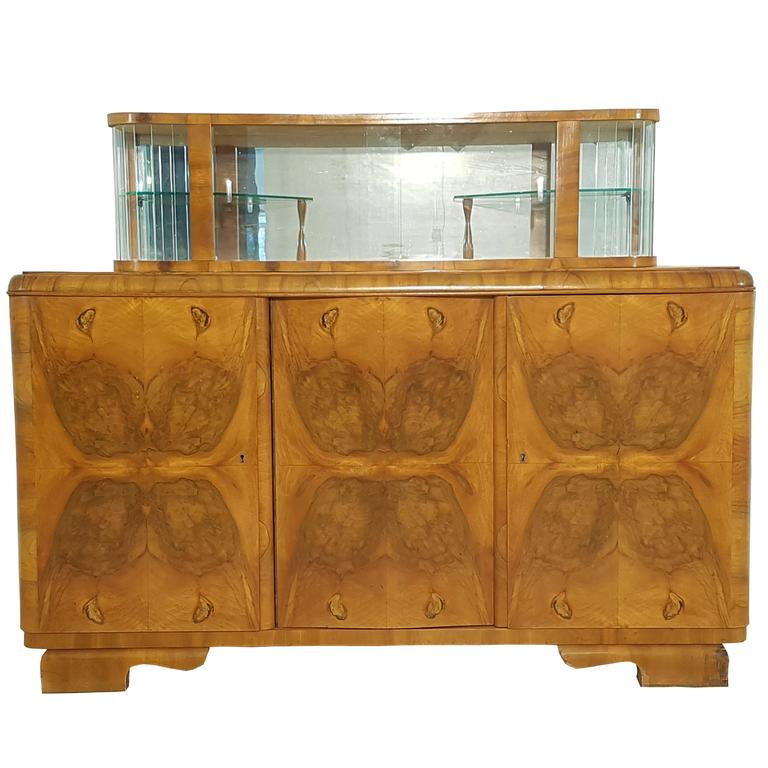 Art deco sideboard with vitrine for sale at 1stdibs for Sideboard und vitrine