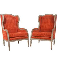 Pair of French 19th Century Louis XVI Wingback Bergères