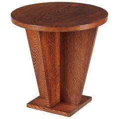 French Art Deco Oak Side Table, 1930s