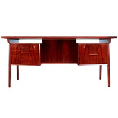 Brazilian Rosewood Desk with Reverse Bookshelf, circa 1960