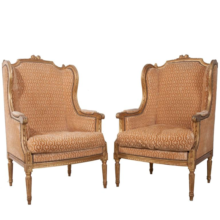 Pair of French 19th Century Louis XVI Gold Gilt Wingback Bergères