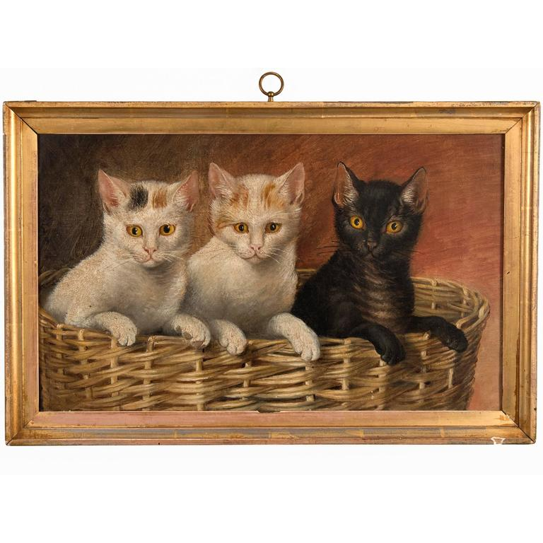 """Untitled """"Basket of Kittens"""" Oil on Canvas"""