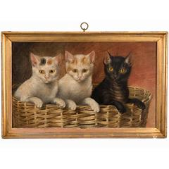 "Untitled ""Basket of Kittens"" Oil on Canvas"