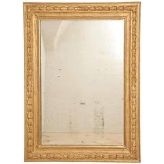 French Gilt Louis XVI Wall Mirror, 18th Century with Original Mercury Glass