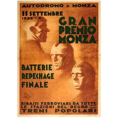 Original Vintage Formula One Car Racing Event Poster for the Monza Grand Prix