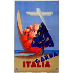 Original Vintage Art Deco Travel Poster Advertising Lake Garda Italia by ENIT