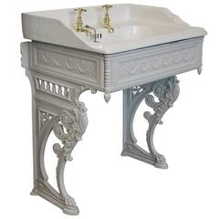 Late Victorian Reclaimed Basin on Cast Iron Stand