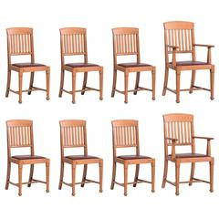 Set of Eight Oak Dining Chairs, circa 1900